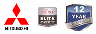 Mitsubishi | Fujitsu Heat Pump Contractor Badge | 12 Year Warranty